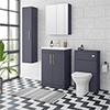 Arezzo Blue Floor Standing Vanity Unit, Tall Cabinet + Toilet Pack with Brass Handles profile small image view 1