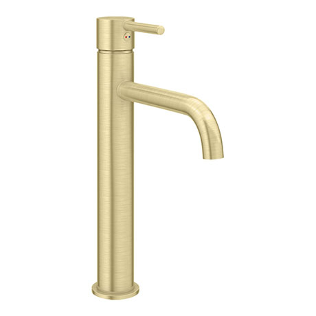 Arezzo Round Brushed Brass High Rise Mono Basin Mixer Tap