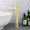 Arezzo Round Brushed Brass High Rise Mono Basin Mixer Tap profile small image view 1