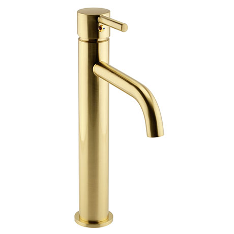 Arezzo Round Brushed Brass High Rise Mono Basin Mixer Tap