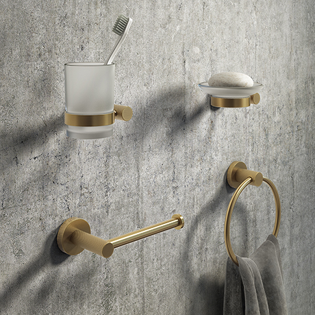 Arezzo Industrial Style Brushed Brass 4-Piece Bathroom Accessory Pack
