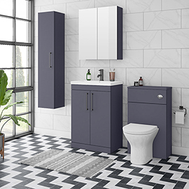 Arezzo Blue Floor Standing Vanity Unit, Tall Cabinet + Toilet Pack with Black Handles