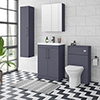Arezzo Blue Floor Standing Vanity Unit, Tall Cabinet + Toilet Pack with Black Handles profile small image view 1