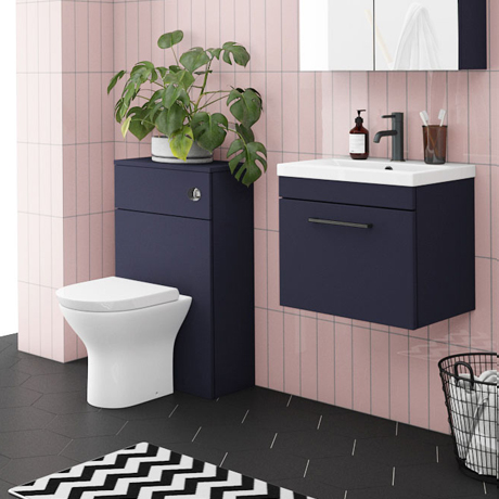 Arezzo Blue Wall Hung Sink Vanity Unit + Toilet Package with Matt Black Handle