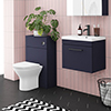 Arezzo Blue Wall Hung Sink Vanity Unit + Toilet Package with Matt Black Handle profile small image view 1