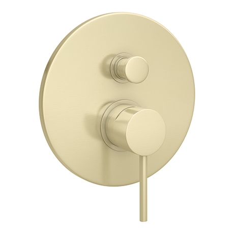 Arezzo Brushed Brass Round Concealed Manual Shower Valve with Diverter