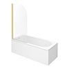 Arezzo Straight Round Shower Bath w. Brushed Brass Curved Top Pivot Screen profile small image view 1