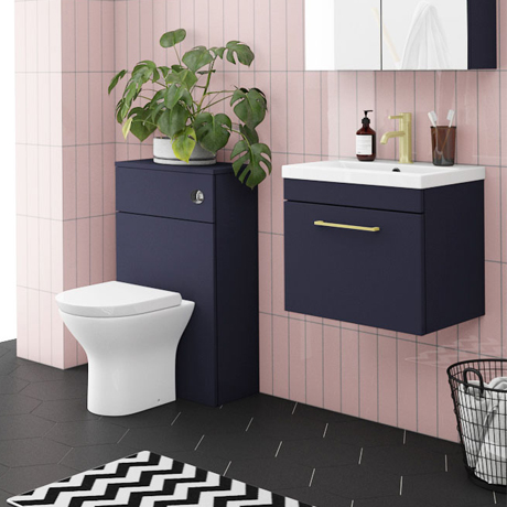 Arezzo Blue Wall Hung Sink Vanity Unit + Toilet Package with Brass Handle