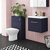 Arezzo Blue Wall Hung Sink Vanity Unit + Toilet Package with Brass Handle profile small image view 1
