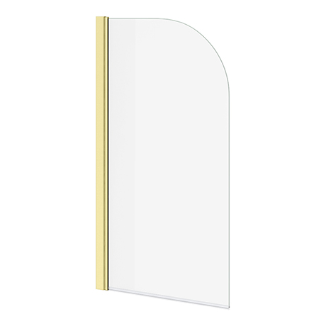 Arezzo Brushed Brass Curved Top 6mm Glass Pivot Bath Screen (1435 x 770)