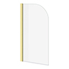 Arezzo Brushed Brass Curved Top 6mm Glass Pivot Bath Screen (1435 x 770) profile small image view 1