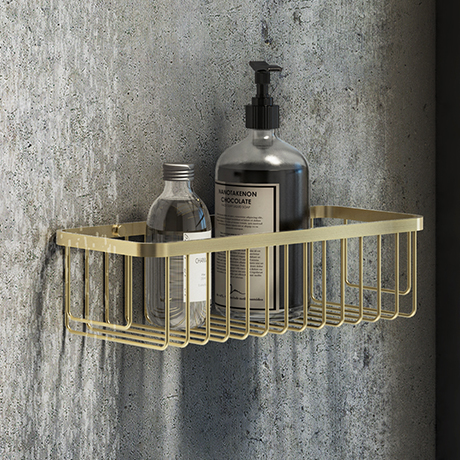 Arezzo Brushed Brass 300mm Wire Shower Basket