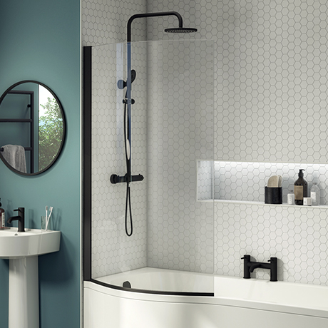 Arezzo Matt Black Curved Shower Bath Screen for B-Shaped Baths