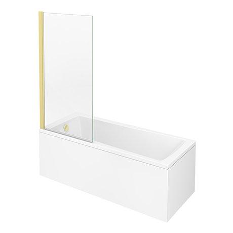 Arezzo Straight Square Shower Bath w. Brushed Brass Pivot Screen