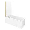 Arezzo Straight Square Shower Bath w. Brushed Brass Pivot Screen profile small image view 1
