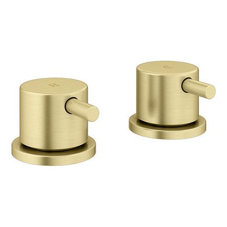 "Arezzo Brushed Brass 3/4"" Deck Bath Side Valves (Pair)"
