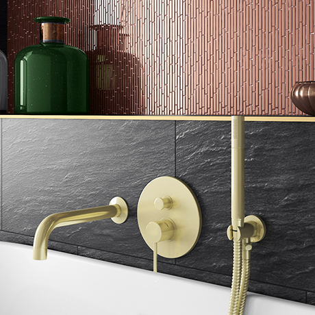 Arezzo Brushed Brass Round Concealed Manual Valve with Bath Spout and Shower Handset