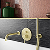 Arezzo Brushed Brass Round Concealed Manual Valve with Bath Spout + Shower Handset profile small image view 1