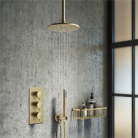 Arezzo Brushed Brass Round Thermostatic Shower Pack with Ceiling Mounted Head + Handset