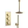 Arezzo Brushed Brass Round Thermostatic Shower Pack with Ceiling Mounted Head + Handset profile small image view 1
