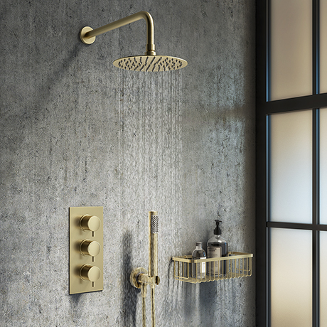 Arezzo Brushed Brass Round Thermostatic Shower Pack with Wall Mounted Head + Handset