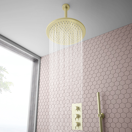 Arezzo Brushed Brass Round Thermostatic Shower Pack with 300mm Ceiling Mounted Head + Handset