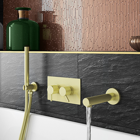 Arezzo Brushed Brass Round Concealed Twin Valve with Diverter, Bath Spout + Shower Handset