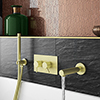 Arezzo Brushed Brass Round Concealed Twin Valve with Diverter, Bath Spout + Shower Handset profile small image view 1