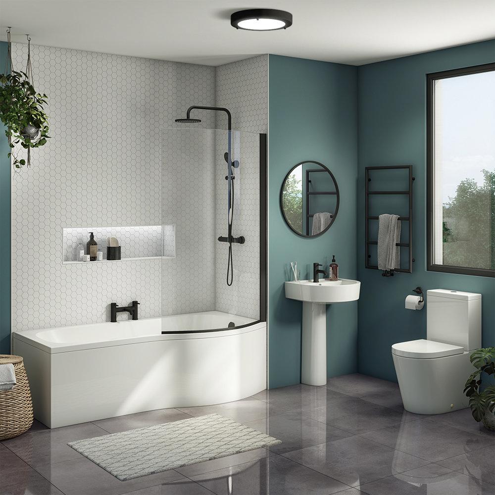 Arezzo B-Shaped Shower Bath Suite - 1700mm