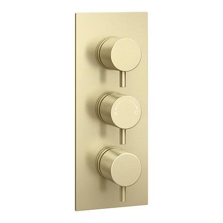 Arezzo Brushed Brass Round Modern Triple Concealed Shower Valve