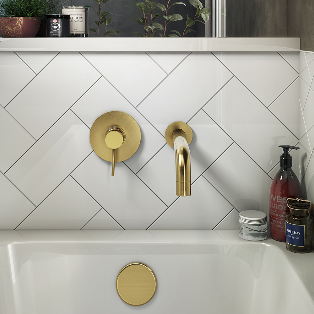 Arezzo Brushed Brass Round Concealed Manual Valve + Bath Spout
