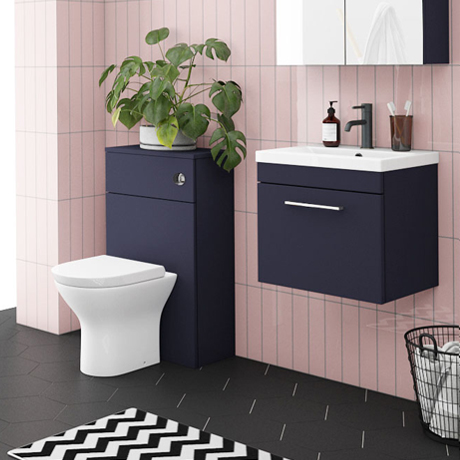 Arezzo Blue Wall Hung Sink Vanity Unit + Toilet Package with Chrome Handle
