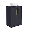 Arezzo Countertop Basin Unit - Blue with Brushed Brass Handles - 600mm inc. Basin profile small image view 1