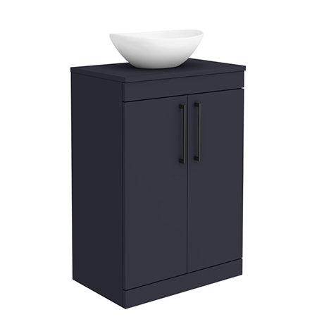 Arezzo 600 Matt Blue Floor Standing Vanity Unit with 410 x 330mm Oval Counter Top Basin + Black Hand