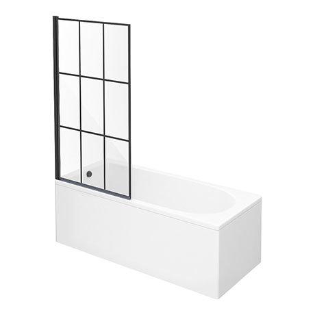Arezzo Matt Black Grid Bath Screen with Curved Single Ended Bath