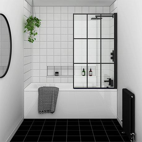 Arezzo Matt Black Grid Bath Screen with Square Single Ended Bath