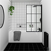 Arezzo Matt Black Grid Bath Screen with Square Single Ended Bath profile small image view 1