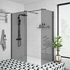 Arezzo Matt Black 1400 x 900 Grey Tinted Glass Wet Room (inc. Screen, Side Panel + Tray) profile small image view 1