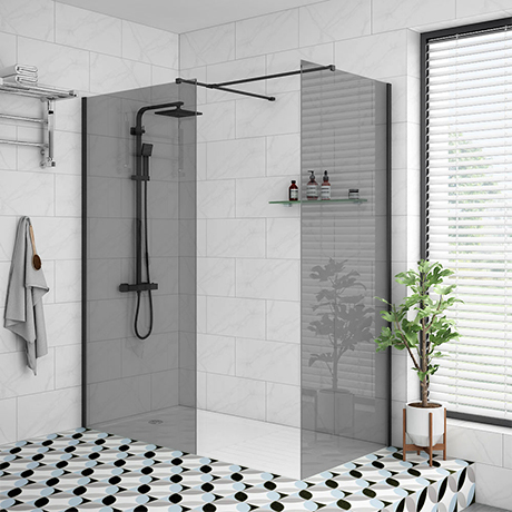 Arezzo Matt Black 1700 x 800 Grey Tinted Glass Wet Room (Inc. Screen, Side Panel + Tray)