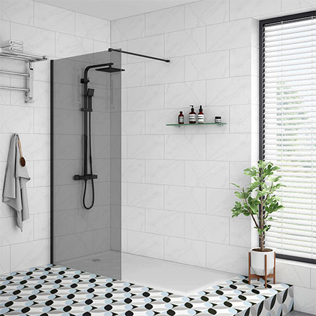 Arezzo Matt Black 1200 x 800 Grey Tinted Glass Wet Room (700mm Screen + Tray)