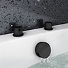 Arezzo Matt Black Deck Bath Side Valves with Freeflow Bath Filler profile small image view 1