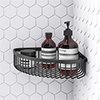 Arezzo Matt Black Wire Corner Shower Basket profile small image view 1