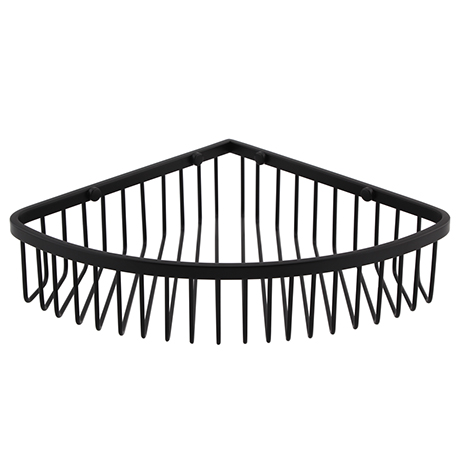Arezzo Matt Black Wire Corner Shower Basket