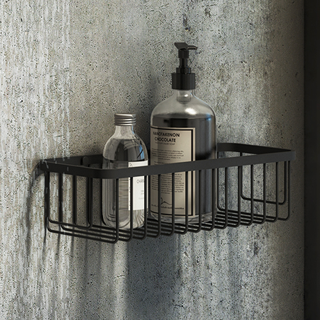 Arezzo Matt Black 300mm Wire Shower Basket