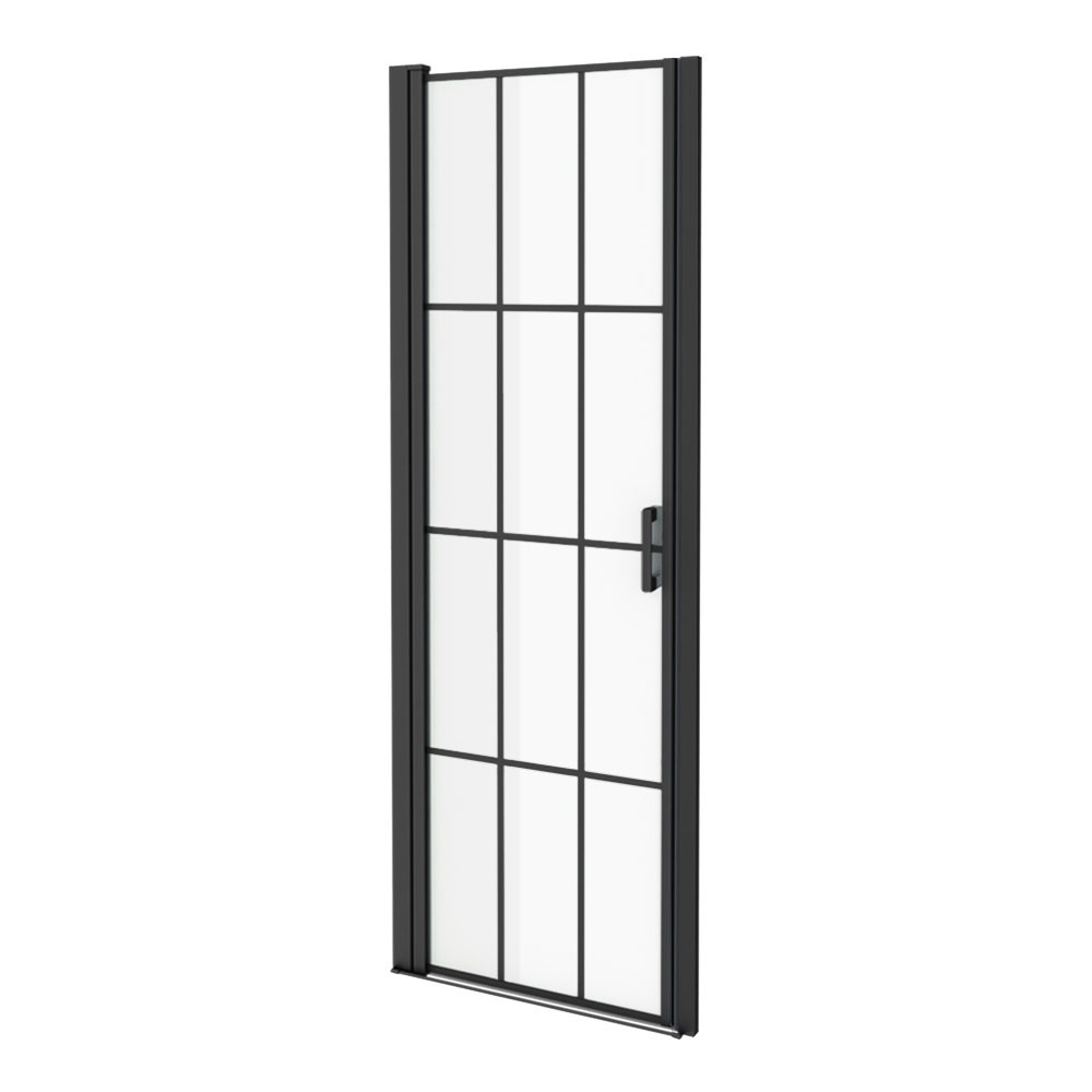 Arezzo 700 x 1970 Matt Black Grid Frameless Pivot Shower Door for Recess