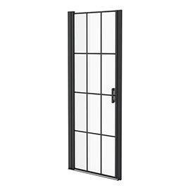Arezzo 700 x 1970 Matt Black Grid Frameless Pivot Shower Door for Recess