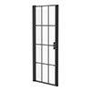 Arezzo 700 x 1970 Matt Black Grid Frameless Pivot Shower Door for Recess profile small image view 1