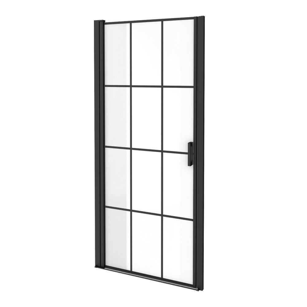 Arezzo 900 x 1970 Matt Black Grid Frameless Pivot Shower Door for Recess