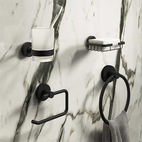 Arezzo Round Matt Black 4-Piece Bathroom Accessory Pack