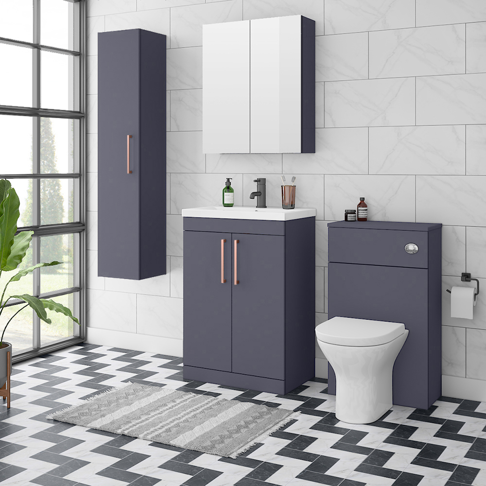 Arezzo Blue Floor Standing Vanity Unit, Tall Cabinet + Toilet Pack with Rose Gold Handles